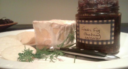 Homemade camembert and fresh fig chutney