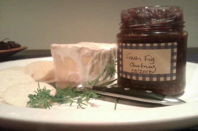 Homemade camembert and fresh fig chutney