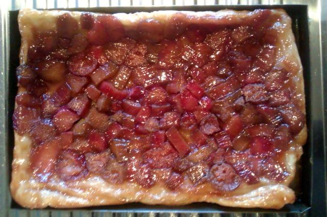 Rhubarb and cinnamon tarte tatin