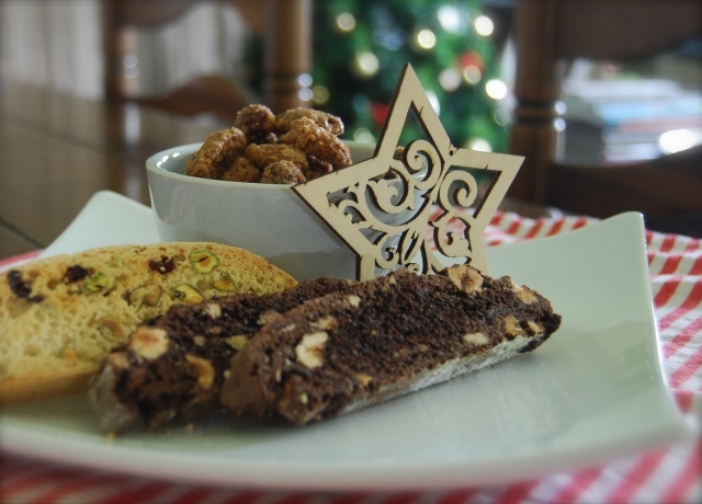 Sugar and Spice Nuts, Chocolate Hazelnut Biscotti, Cranberry and Pistachio Biscotti